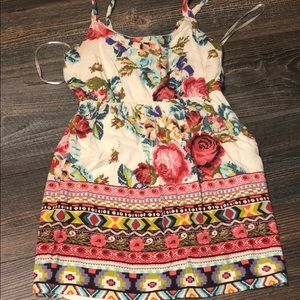 Floral and tribal pattern mini dress